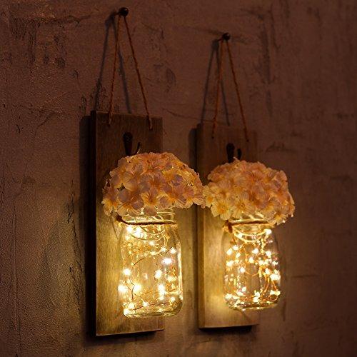 Barattoli/candelabri da appendere con luci a LED, ganci in ferro battuto, lampade a sospensione con fiori di ortensia e luci a LED per la decorazione della casa (set di 2)