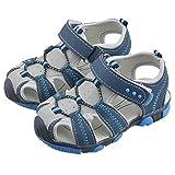 Vertvie Baby Jungen Kinder Boy Sommer Sport Sandale Schuhe Rutschfest Wildledersohle Lauflernschuhe mit Klettverschluss (23, Blau+Grau)
