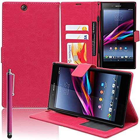 VCOMP® Sony Xperia Z Ultra XL39H C6802 C6806 C6833: Etui portefeuille cuir PU Livre rabat support vidéo + stylet - ROSE