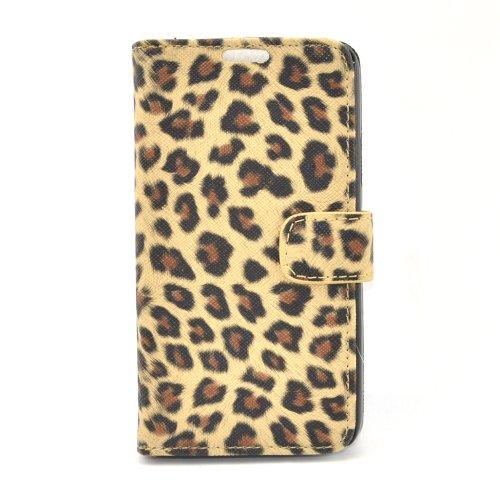 Apexel - Funda de piel tipo cartera para Samsung Galaxy S5 I9600 (tarjetero), diseño de piel de leopardo, color dorado