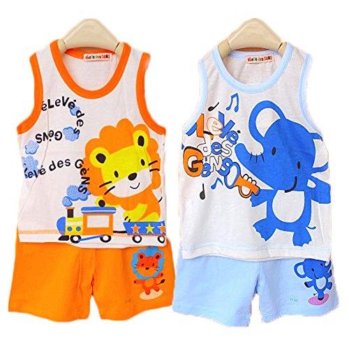 Packung mit 2 Sets Hikfly Baby Jungen Mädchen Bio Baumwolle Ärmellos Tops Weste T-Shirt und Shorts Set (A) (3-9 monate, Jungen)