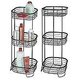 mDesign 2er-Set freistehendes Badregal aus Metall – rostbeständiges Badezimmer Regal mit drei Ebenen für Handtücher, Shampoo und Seife – Handtuchhalter stehend – mattschwarz