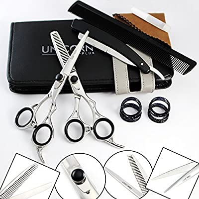 "Super Sharp Professional Hairdressing Scissors - Miror Silver Japanese Steel Barber Salon Scissors - Salon Equipment 6.5""Inch - Hair Removing Tool + FREE Finger Inserts & Barber Shaver in a Case from Unicorn Plus"
