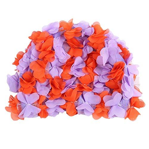 Moresave flor sombrero de baño de pétalos de flores mujeres natación sombrero Gorro de baño, Mujer, Violet + Orange
