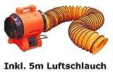Axial Ventilator & 5m Schlauch Bautrockner Lüfter Trockner Bau Gebläse 2450m³/h Trocknergebläse