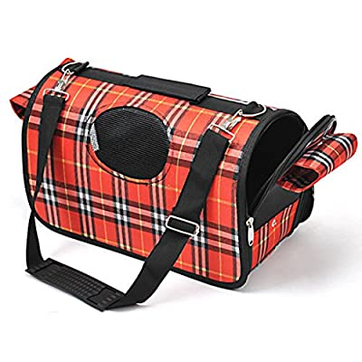 Pawz Road Plaid Pet Outdoor Carrier Soft Sided Cat / Dog Comfort Travel Bag