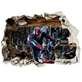 Wandaufkleber mit 3D-Effekt einer aufgeschlagenen Wand, aus Vinyl, Wanddekor für Autos, Motorräder, Wohnwagen, Häuser Customise4UTM, Vinyl, spiderman swing, 70cm x 49cm