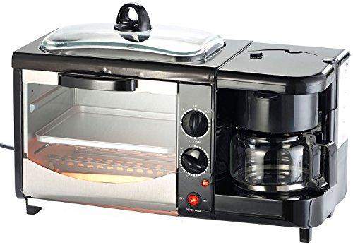 Rosenstein & Söhne Frühstückscenter: 3in1-Frühstücksofen mit Glasdeckel, 1.450 Watt (Miniküche)