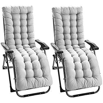 Gray ZhongYe 2Pcs Sun Lounger Cushion Pads Replacement with Non-Slip Top Cover Garden Patio Thick Chair Recliner Relaxer Pad