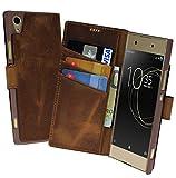 Suncase Sony Xperia XA1 Plus Book-Style (Slim-Fit) Ledertasche Leder Tasche Handytasche Schutzhülle Case Hülle (mit Standfunktion und Kartenfach) antik Coffee