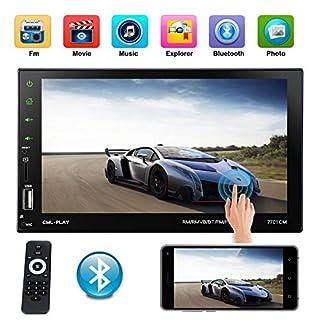 xgody 7701Auto Digital Media Player Doppel Din Stereo-Empfänger mit Integriertem Bluetooth Freisprechen Musik Streaming USB Aux SD Karte Eingänge RGB Mehrfarbig Beleuchtung am FM Radio Fernbedienung