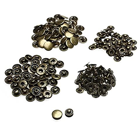 10 x 12.5mm Bronze Set of Snap Fasteners for Clothing and Accessories - Press Studs for Adding Secure Closure to Jackets, Jeans and Other Sewing Projects - Popper for Clothes