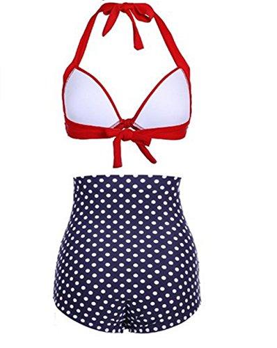 YARBAR Frauen Retro Vintage Polka Floral mit hoher Taille Bikini Badeanzug Rot
