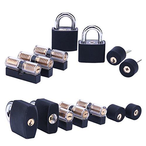 Lockpicking Set, LoKauf 7St. Locksmith Kit Lockpicking übungsschloss Set Dietrich Set mit Silikonhülle Schwarz -