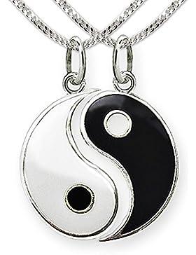 CLEVER SCHMUCK Silberne Partneranhänger teilbar Yin Yang schwarz weiß lackiert glänzend mit 2 Ketten Panzer je...