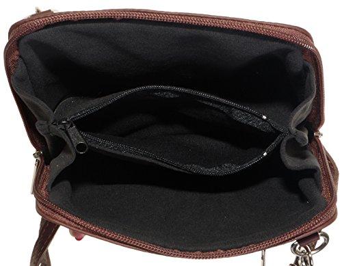 Italiano in morbida pelle, piccole/Micro croce corpo borsa o borsetta borsa a tracolla.Include una custodia protettiva. Mid Brown