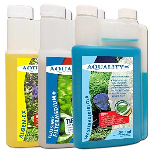 AQUALITY 3er Starter- & Pflege-Sparset 500 (Aquarium Algenvernichter, Wasseraufbereiter, Filtermedium in einem Set)