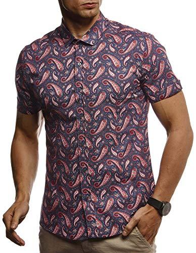 LEIF NELSON Herren Hemd Kurzarm Slim Fit T-Shirt Kentkragen | Stylisches Männer Freizeithemd Stretch Kurzarmhemd | Jungen Basic Shirt Freizeit Sweater Kurzarmshirt | LN3830 Blau-Rot Large Stretch-sweatshirt