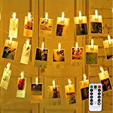 Vegena LED Photo Clips Guirlande Lumineuse, 40 Photo Clips 4M 8 Modes Batterie et USB Alimenté LED Lumière Chaînes Éclairage d'ambiance Décoration pour Mémos Photo, Oeuvres, Fête (Blanc Chaud)