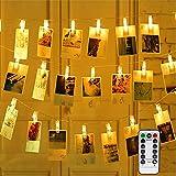 Vegena LED Photo Clips Guirlande Lumineuse, 40 Photo Clips 4M 8 Modes Batterie et USB Alimenté LED Lumière Chaînes Éclairage d'ambiance Décoration pour Mémos Photo, Oeuvres, Fête (Blanc Chaud)