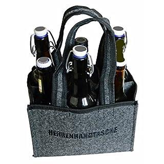 all-around24® Filz Flaschentasche Herrentasche Bottlebag Herrenhandtasche Tasche Einkauf Tragetasche Flaschenkorb Flaschenträger (23x15x15cm, Grau-Filz)