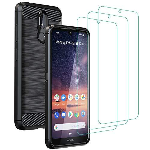 ivoler Hülle mit Panzerglas für Nokia 3.2 [1 Hülle + 3 Schutzfolie], Schwarz Stylisch Karbon Design Anti-Kratzer Stoßfest Schutzhülle Cover Weiche TPU Silikon Handyhülle Case