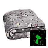 LC Kuscheldecke mit Leuchtenden Katzen Monden & Sternen Decke 160x130cm Stern Krabbeldecke (Katze)