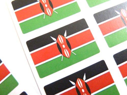 Pack de 60 , 33x20mm , Kenia autoadhesiva Pegatinas Bandera , Keniano autoadhesivo bandera Etiquetas