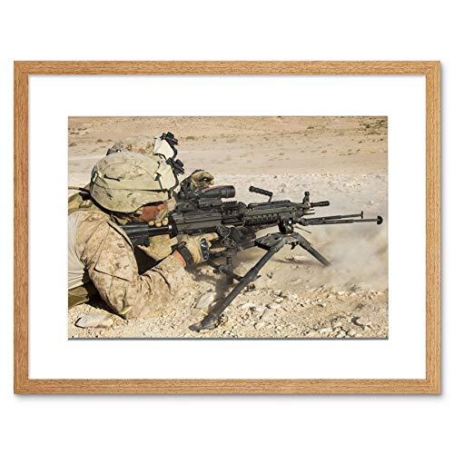 WAR MILITARY ARMY HARDWARE SOLDIER SHOOT DESERT M240B MACHINE GUN PRINT B12X4858 -