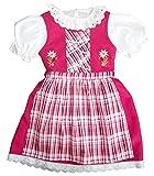 Kinderdirndl mit karierter Schürze Dirndl mit Stickerei Gr 74-134 # 848 (122-128, Pink)