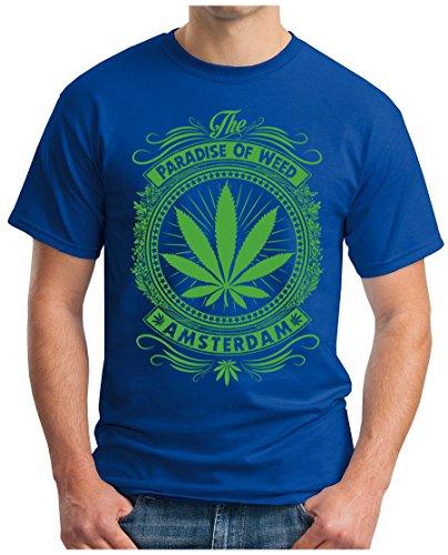 OM3 - AMSTERDAM - T-Shirt SMOKE LEGAL GANJA US COLLEGE Royalblau