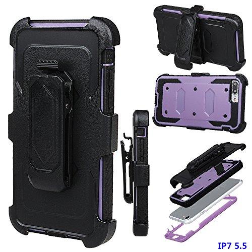 """xhorizon FM8 Eingebaut Schützender Stoßdämpfer Heavy Duty Schutz Schockreduzierung/Stoßstang Case für Apple iPhone 7 Plus [5.5""""] (Cyan) Lila"""