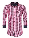 Clearlove Trachtenhemd Herren Hemd Slim Fit Kariert Freizeithemd - für Oktoberfest & Freizeit & Business,Rot,40