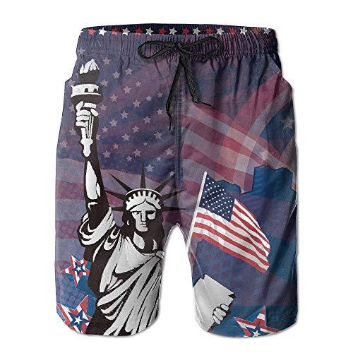 XIAOYI American United States Statue of Liberty Star Beach Shorts Swim Trunks Casual Sport - XL - Liberty Vintage Shorts