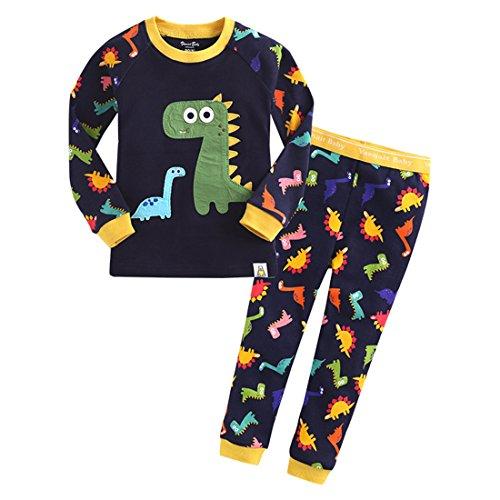 GWELL Kinder Schlafanzug Pyjama Cartoon Langarm Zweiteilige Set aus Baumwolle Herbst & Winter Jungen Mädchen Kleinkinder Dinosaurier M (Schlafanzug Kleinkind Jungen)