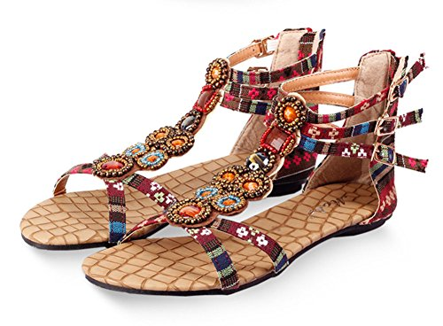 Wealsex Damen Böhmen Sandalen Sommer flache Schuhe Rot tcKkiUZ
