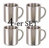Camping Edelstahl Thermo Tasse doppelwandig - Thermobecher Kaffeetasse Becher mit Griff 250ml - Silber - 4 Personen Set (4 Thermobecher)