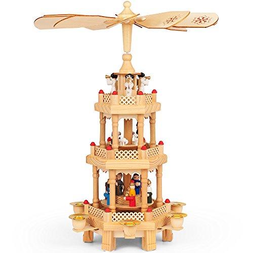 Monzana Weihnachtspyramide 3-stöckig drehbar Holzpyramide aus Echtholz Weihnachtsdekoration handbemalt Weihnachten