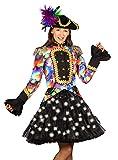 Das Kostümland LED Volumen Petticoat Bellatrix für Damen 53 cm - Schwarz/Weiß - Tüllrock halbtransparent bauschig Unterrock Piratin Burlesque Tellerrock Fasching Show Tanz