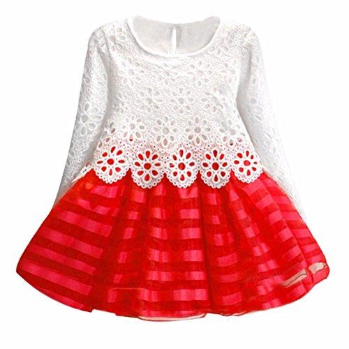 JERFER Mädchen Langarm Prinzessin Kleid Hohle Blumenmädchen - Amazonas Prinzessin Kostüm