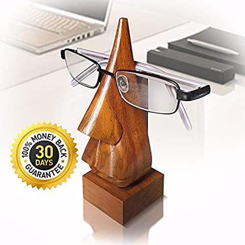 [SPECTACLE WIPE BONUS] - Hand Carved Nose Shaped Shisham Wooden Glasses Holder With Spectacle wipe and Gift Box- Stop Losing Glasses From