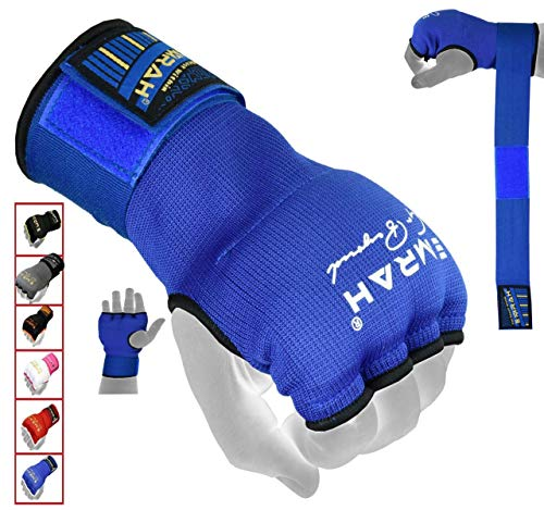 EMRAH PRO Training Boxing Gel Innere Handschuhe Handwickel MMA Faust Protector Bandages Mitts-X Boxing Hand Wraps (Blau, XL)