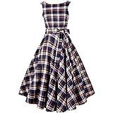 iHaipi - Rétro Robe Style de Hepburn écossaise Slim Jupe Swing Pettiskirt Les 80 Les 50 Bleu/Rouge (05. XX-Large, 02. Bleu)