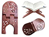 Best Gift for Valentines Day, Wooden Book Stand, Carvings-Inlay Magazine Stand, Religions Book Stand, Holy Bible / Quran /Geeta Book Stand Holder