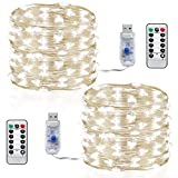 Led string lights,InteTech [2 Pack]10m 100 LEDs Micro silver Wire Waterproof LED String Fairy Lights Indoor Outdoor Starry String Lights Lighting DIY Decoration for Bedroom Jars Garden Camping Festive (Cool white With Remote)