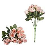 F.Lashes Unechte Mini Blumen Künstliche Deko Blumen Gefälschte Schön Blumen Seidenrosen Plastik 15 Köpfe Braut Hochzeitsblumenstrauß für Haus Garten Party Blumenschmuck