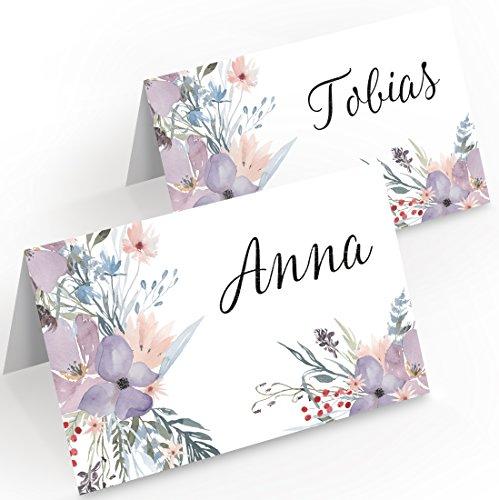 Kigima Tischkarten Hochzeit Verlobung Feiern romantisch lila Blumen-Mix 50 Stück - 3