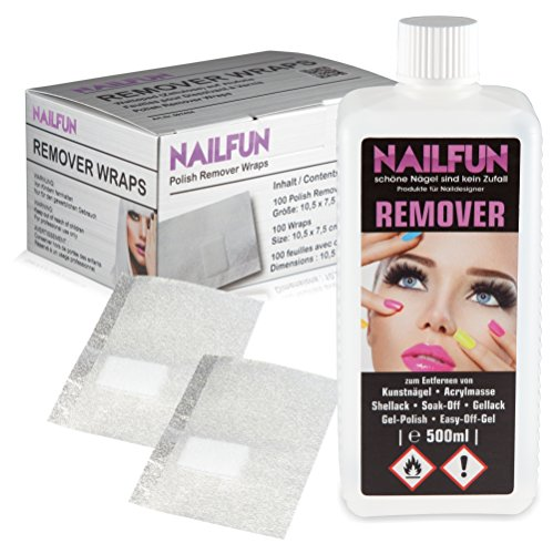 100 Polish Remover Wraps Pads + 500ml REMOVER für Gellack, Shellack, Soak-Off, Gel-Polish, Easy-Off-Gel, Acrylmasse und Tips