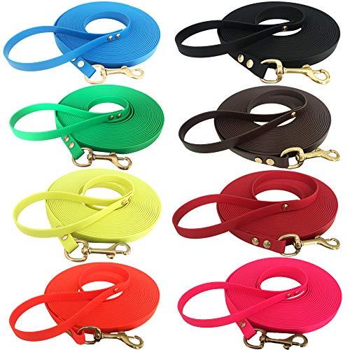 Sehr leichte Welpenleine Hundeleine Schleppleine für Welpen und kleine Hunde aus Biothane mit Handschlaufe, 5 Meter lang, Rot, 9 mm breit Superflex