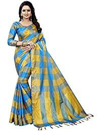 Blue Cotton Woven Saree With Blouse